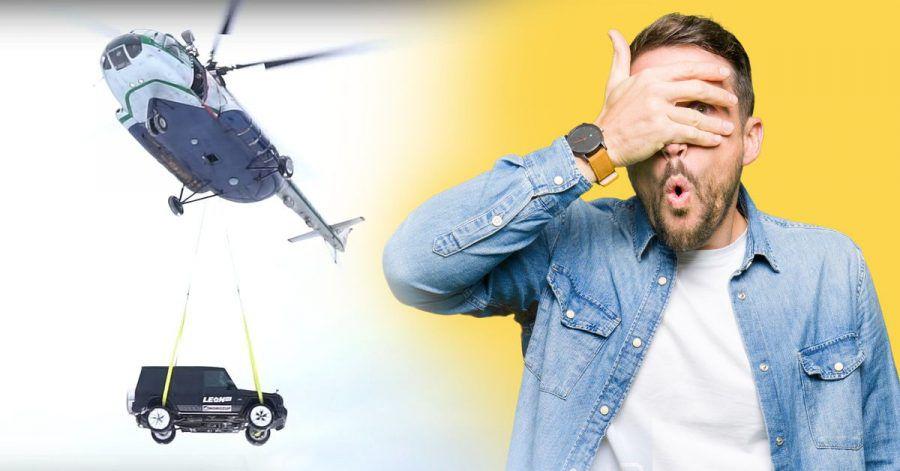 Video: Protzrusse lässt Luxuskarre vom Himmel fallen
