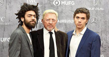 Boris Becker mit seinen Söhnen Noah und Elias auf der Piste