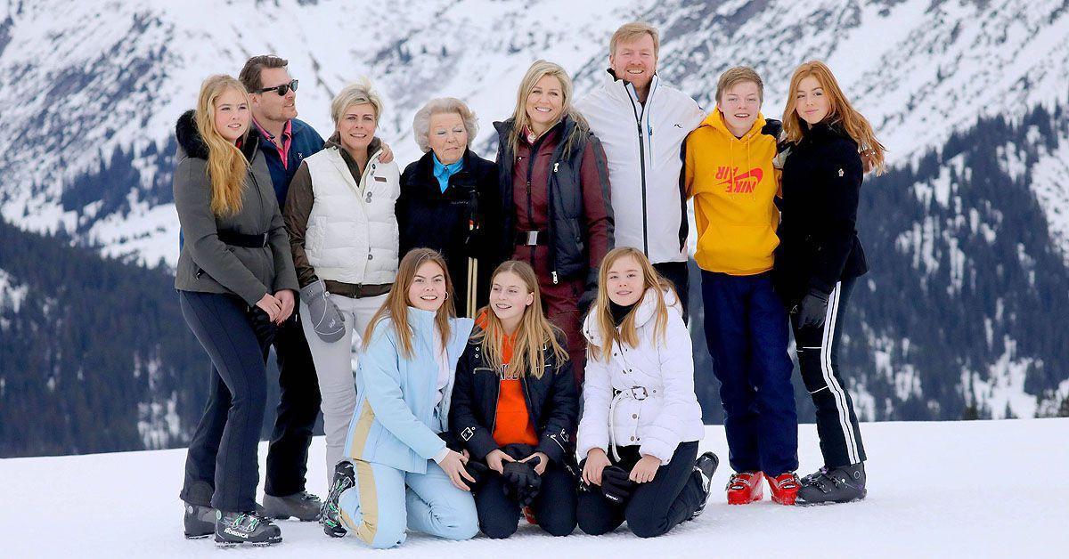 König Willem-Alexander mit Mutti, Frau, Kindern und Bart im Schnee - klatsch-tratsch.de