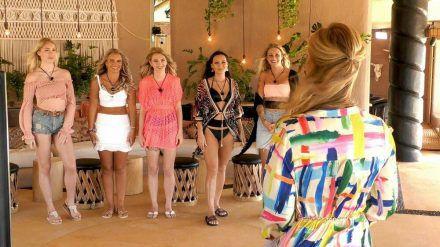 "Die Single-Damen mit Moderatorin Angela Finger-Erben (re.) bei ""Paradise Hotel"" (jom/spot)"