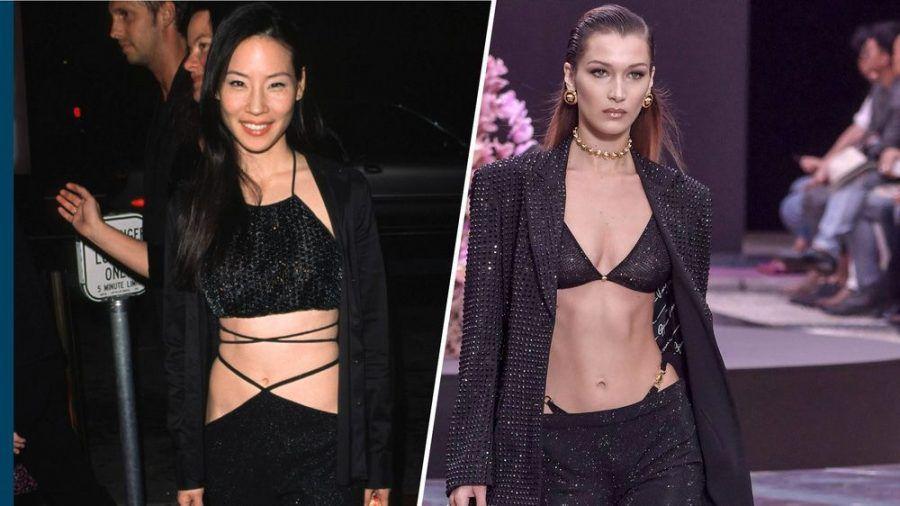 Lucy Liu (l.) setzte schon vor 20 Jahren auf den String-Look, 2020 ziehen Models wie Bella Hadid nach. (kms/spot)