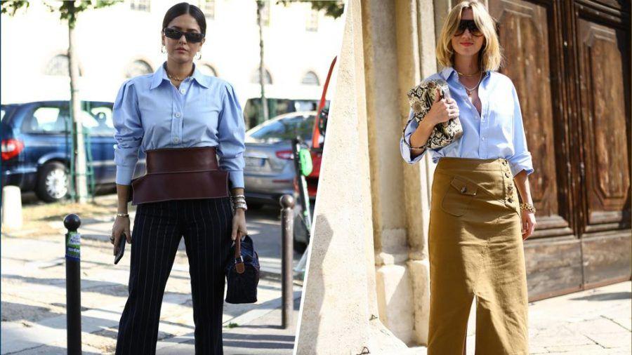 Die Fashionistas Paola Alberdi und Lisa Aiken zeigen wie der Lässig-Look in Blau funktioniert. (kms/spot)