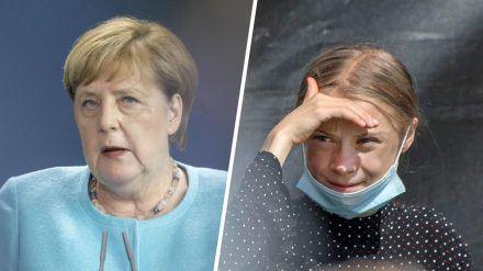 Angela Merkel (links) und Greta Thunberg haben sich in Berlin getroffen. (mia/spot)