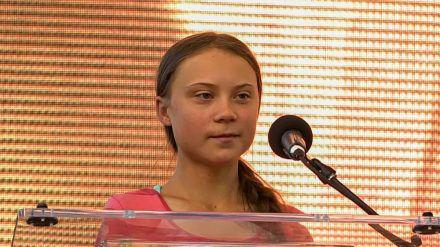 Greta Thunberg bei einer Rede in New York City im vergangenen Jahr (stk/spot)