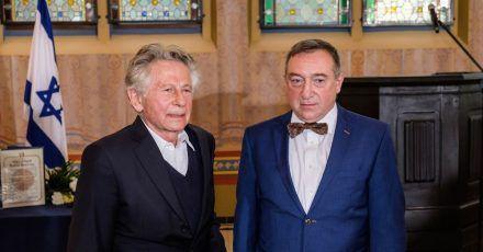 Roman Polanski (l) bei der Zeremonie mit Stanislaw Buchala in Gliwice.