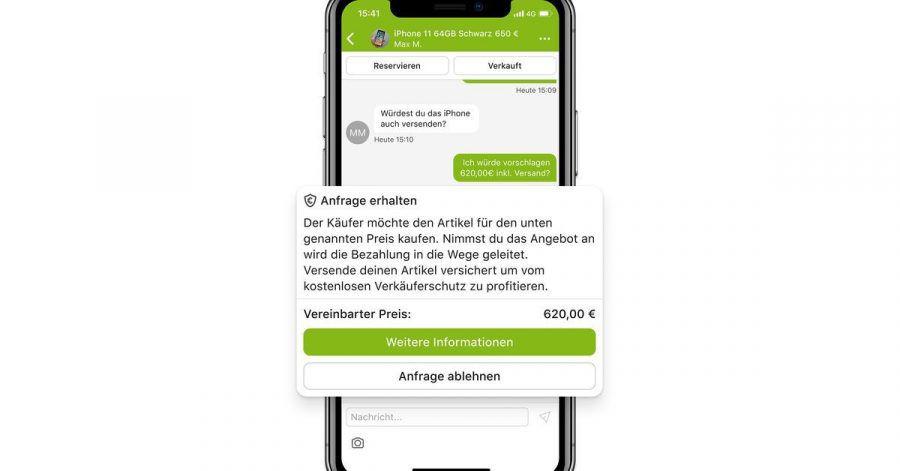 In der App muss der Käufer «Sicher bezahlen» initiieren. Schließlich trägt er die Gebühren. Der Verkäufer muss diesem Bezahlweg dann zustimmen (Bild) und den Artikel versichert versenden.