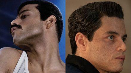 """Rami Malek als Freddie Mercury (l.) in """"Bohemian Rhapsody"""" und als Safin in """"James Bond 007: Keine Zeit zu sterben"""" (cam/spot)"""