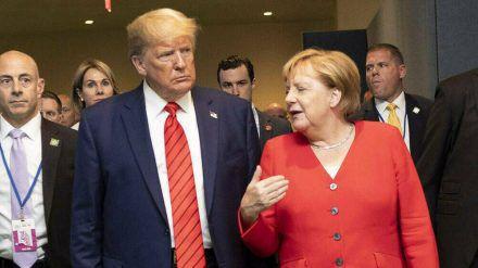 Donald Trump mit Angela Merkel im vergangenen Jahr (wue/spot)