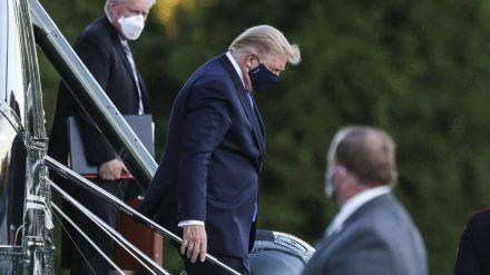 Donald Trump - hier bei der Ankunft - wurde mit dem Heli zum Walter-Reed-Militärkrankenhaus geflogen (amw/spot)