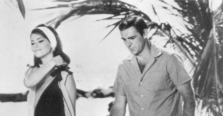 Sean Connery und Claudine Auger im April 1965 auf den Bahamas während der Dreharbeiten zu «Feuerball».