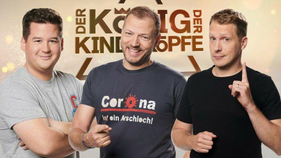 """Chris Tall, Mario Barth und Oliver Pocher treten in """"Der König der Kindsköpfe"""" gegeneinander an. (hub/spot)"""
