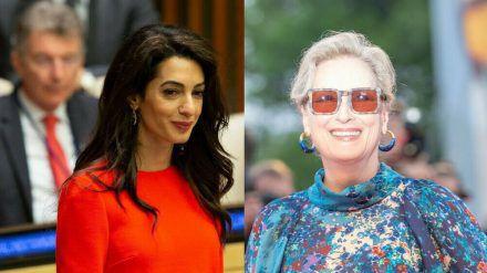 Menschenrechtsanwältin Amal Clooney (l.) bekommt den Freiheitspreis von Hollywood-Star Meryl Streep überreicht. (ili/spot)