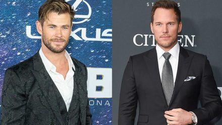 Chris Hemsworth (l.) und Chris Pratt stehen bald wieder gemeinsam vor der Kamera (hub/spot)