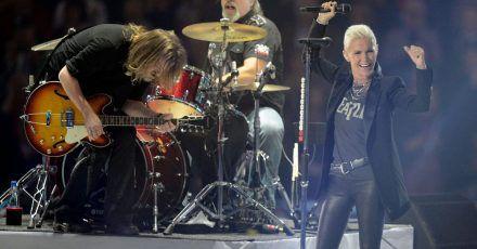 Die Band Roxette bei einem Konzert in Stockholm 2012.