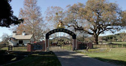 Das Tor der hinteren Zufahrt zur Neverland-Ranch.