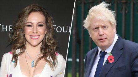 Erkrankten schwer: Schauspielerin Alyssa Milano und UK-Premierminister Boris Johnson. (jru/spot)