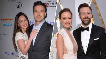 Zwei Hollywood-Paare, die sich nach vielen Jahren trennten: Megan Fox und Brian Austin Green (l.) sowie Olivia Wilde und Jason Sudeikis. (wag/spot)