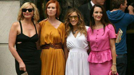 """Der ursprüngliche """"Sex and the City""""-Cast beim Dreh zum zweiten Film im Jahr 2009. (jom/spot)"""