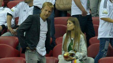 Oliver Pocher und Cathy Hummels bei der Fußball-Europameisterschaft 2012 (wue/spot)