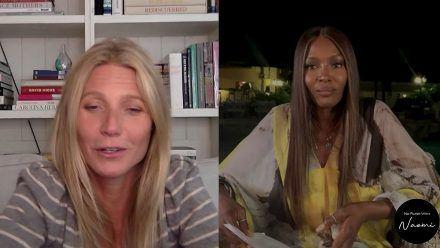 Hier plaudert Gwyneth Paltrow mit Naomi Campbell