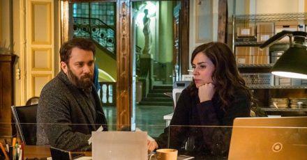 Lessing (Christian Ulmen) und Kira Dorn (Nora Tschirner) in einer Szene des  «Tatorts: Der feine Geist».