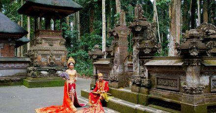 Fotoshooting imAffenwald von Sangeh auf Bali - der Forst mit seinen Tieren lockt viele Besucher der Insel.