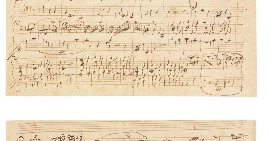 Das Blatt (hier Vorder- und Rückseite) stammt wohl aus dem Nachlass von Mozarts Sohn Franz Xaver Wolfgang, der es wiederum von seiner Tante geerbt haben soll.