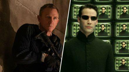 Daniel Craig (l.) hört 2021 als James Bond auf, Keanu Reeves kehrt dafür als Neo zurück. (stk/spot)