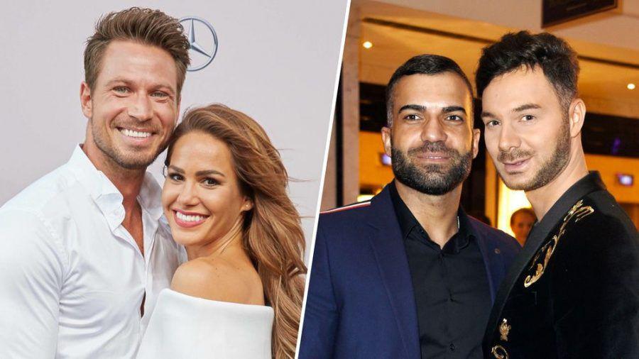 Sebastian und Angelina Pannek sind 2020 Eltern geworden. Rafi Rachek und Sam Dylan sind seit 2019 ein Paar. (sob/jru/spot)
