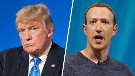 Donald Trump (l.) hat von Mark Zuckerberg einen virtuellen Maulkorb verpasst bekommen. (cos/spot)