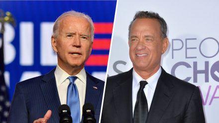 "Tom Hanks (re.) moderiert das TV-Special ""Celebrating America"" zu Ehren Joe Bidens (eee/spot)"