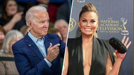 Präsident Joe Biden folgt, Chrissy Teigen jubelt (stk/spot)