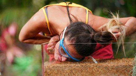 Eine klassische Dschungelprüfung: Christina Dimitriou muss mit ihrem Gesicht durch Würmer wühlen (stk/spot)