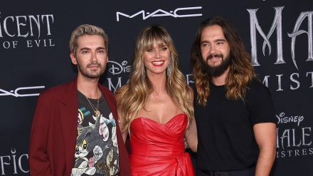 Bill Kaulitz (l.), Heidi Klum und Tom Kaulitz bei einem gemeinsamen Auftritt in Los Angeles. (hub/spot)