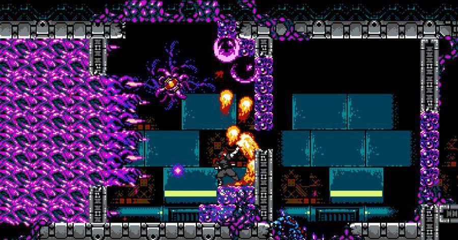 Pixelige Flammen und Tentakel machen Spielerinnen udn Spielern von «Cyber Shadow» das Leben schwer.