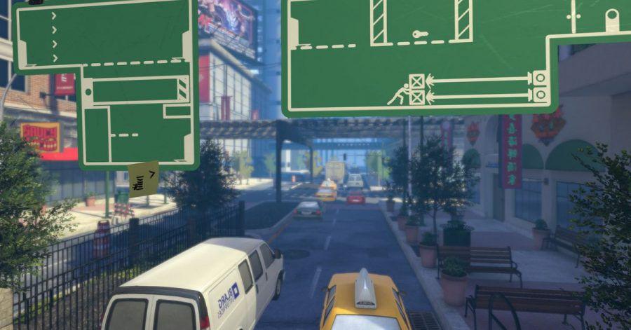 Auf Verkehrsschildern passiert in «The Pedestrian» viel mehr als im echten Leben.
