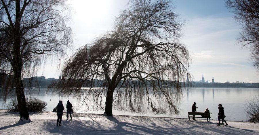 Winterwetter an der Alster in Hamburg. Die Ruhe vor dem Sturm?