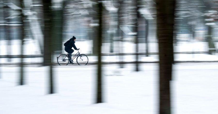 Eine Radfahrerin fährt durch den verschneiten Bürgerpark in Bremen.