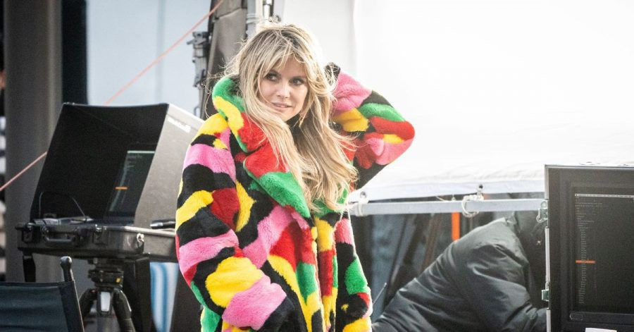 Moderatorin Heidi Klum bei den Dreharbeiten für «Germany's next Topmodel» am Set in Berlin.