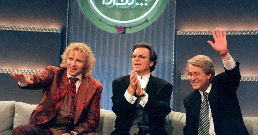 Thomas Gottschalk (l-r), Wolfgang Lippert und Frank Elstner bei der 100. «Wetten, dass..?»-Sendung.