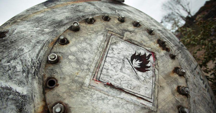 Ein explodierter Gas-Tankwagen.