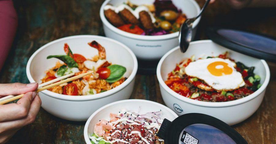 Die Mehrwegschalen des Start-ups Vytal. Der Anbieter stellt Gastronomen Mehrwegverpackungen zur Verfügung.