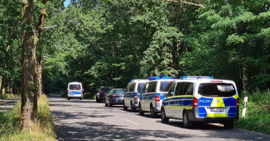 Polizeiautos stehen in einem Waldstück zwischen Babelsberg und Dreilinden. Über Wochen hinweg hatten Meldungen von gewalttätigen Übergriffen auf Frauen überwiegend im Berliner Südwesten große Verunsicherung und Besorgnis ausgelöst.