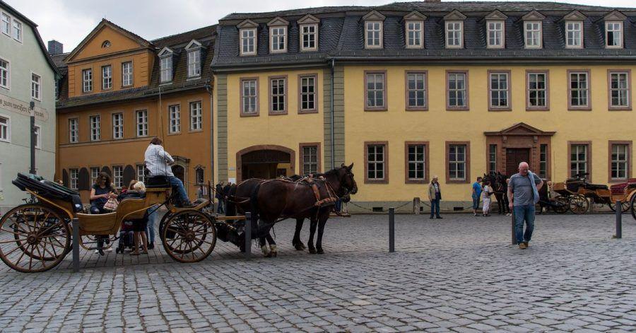 Das Wohnhaus von Johann Wolfgang von Goethe am Frauenplan in Weimar.