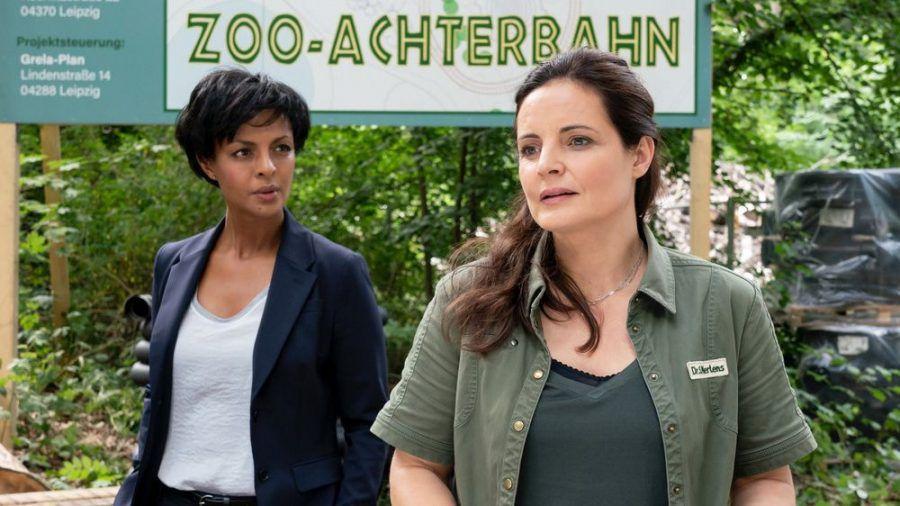 """""""Tierärztin Dr. Mertens: Hoch hinaus"""": Zwischen Dr. Mertens (Elisabeth Lanz, r.) und Zoodirektorin Dr. Amal Bekele (Dennenesch Zoudé) kommt es zum Streit (cg/spot)"""