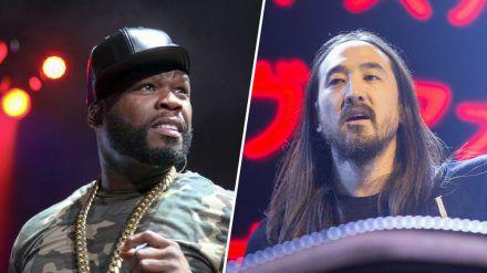 50 Cent und Steve Aoki (r.) hatten Auftritte in Florida (wue/spot)