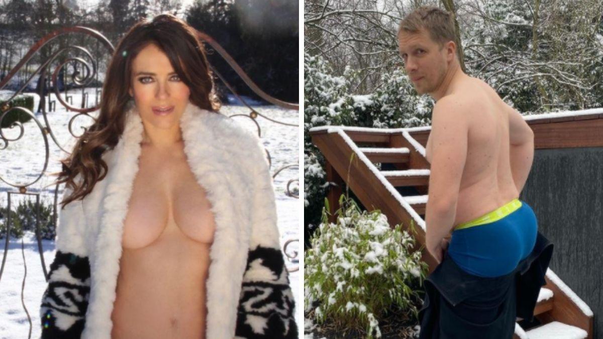 Dicke nackte Frauen in weißen Bikinis