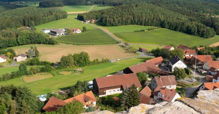 Der Oberpfälzer Wald von oben: Ausblick von der Burg Haus Murach.