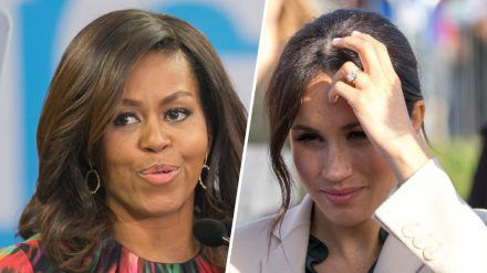 Michelle Obama (li.) äußert sich zu Herzogin Meghans TV-Interview. (cos/spot)