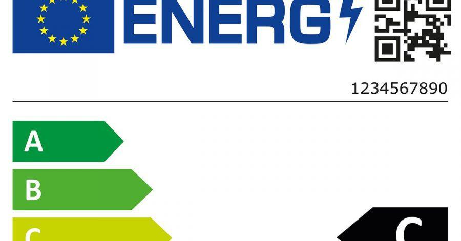 Das neue EU-Energielabel für Waschmaschinen, ohne Hersteller. Es gilt ab dem 1. März.